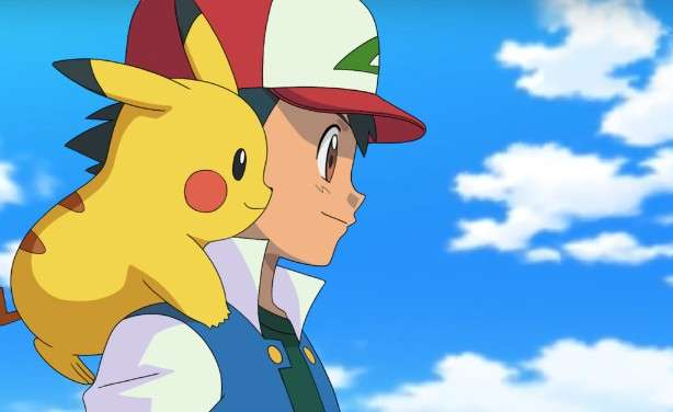 Ash with Pikachu on his shoulder