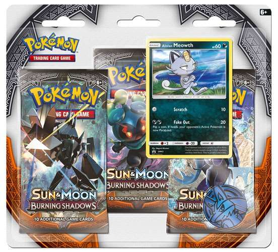 Pokemon Sun and Moon 3 Burning Shadows 3 Pack Blister Display