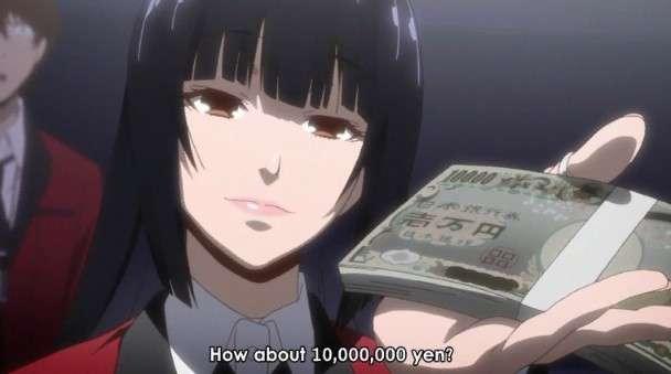 Yumeko Jabami Holding Japanese Yen In Her Hand