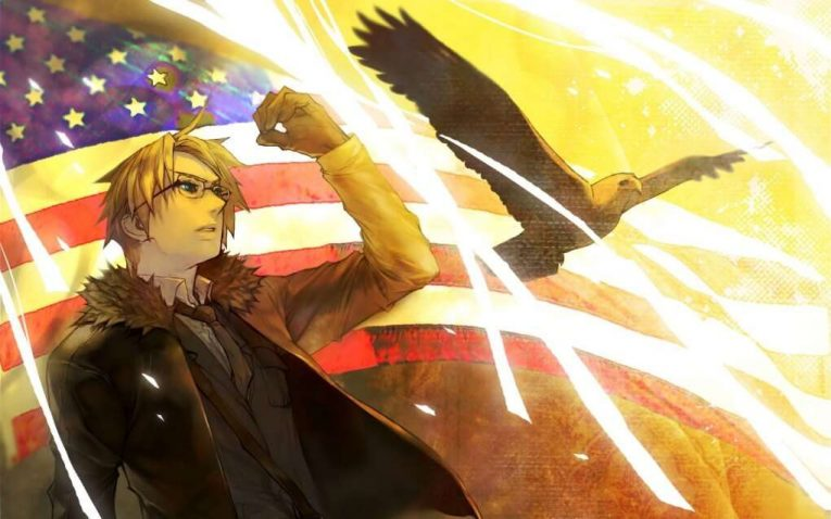 Anime Boy With An Eagle And American Flag In Background