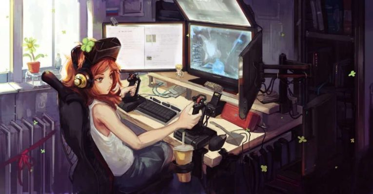 Anime Girl Wallpaper Playing Games