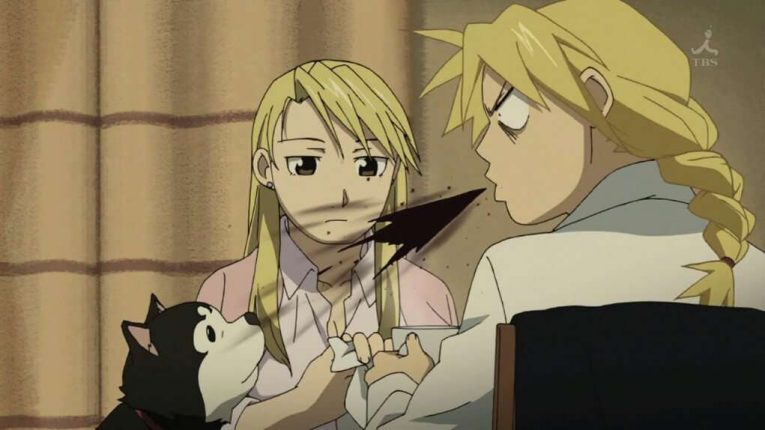 Edward Elric Spitting Out His Drink With Winry Rockbell