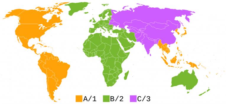 bluray region codes map