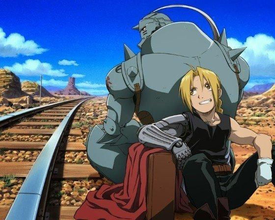 fullmetal alchemist edward and alphonse sitting down