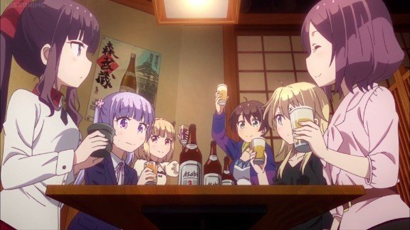 new game anime characters sitting at table