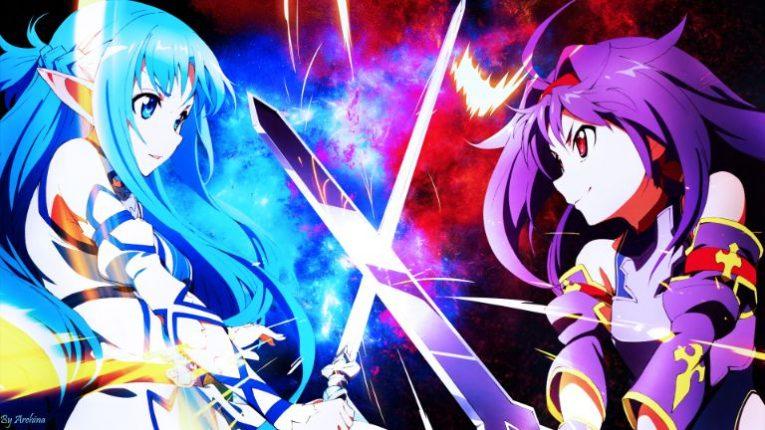 asuna fighting yuuki konno wallpaper