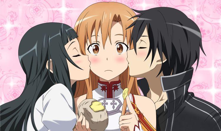 yui and kirito kissing asuna yuuki
