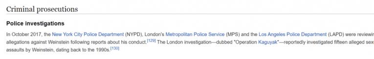 police investigations harvey weinstein