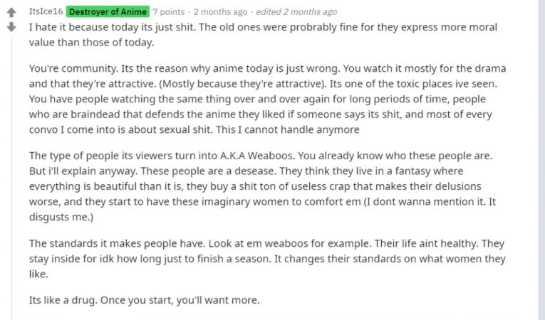 anime community toxic reddit hate