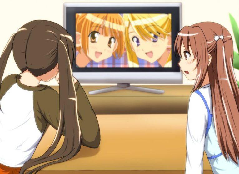 anime girls watching tv wallpaper