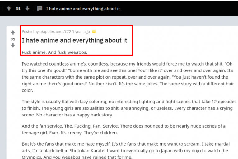 i hate anime and everything about it reddit