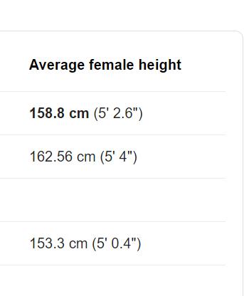 japanese average height females