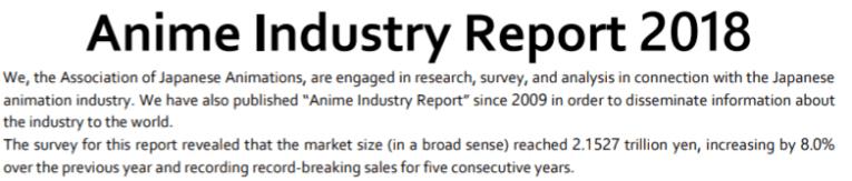 anime industry data worth 2018