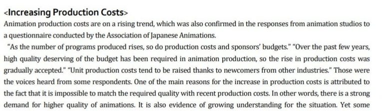 anime production costs rising