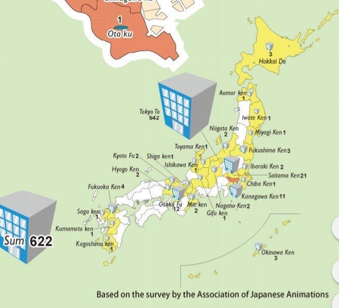 japanese anime map studios