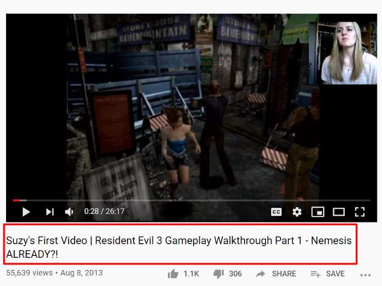 suzy lu resident evil 3 walkthrough first video