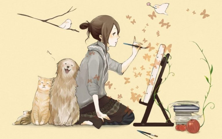 female anime artist with dog and cat