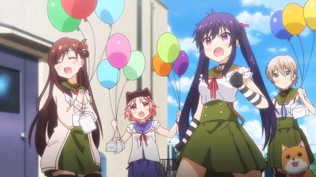 gakkou gurashi baloons characters having fun