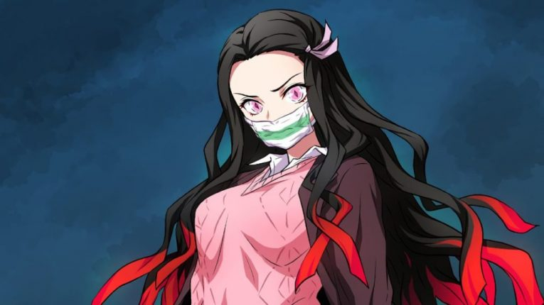 nezuko cute mask wallpaper