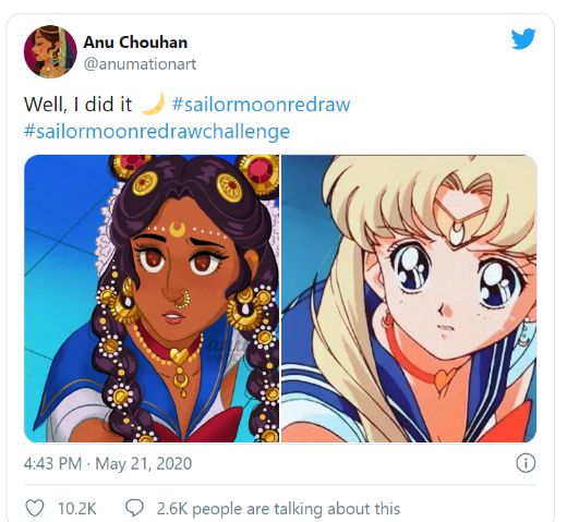 sailor moon redraw indian character