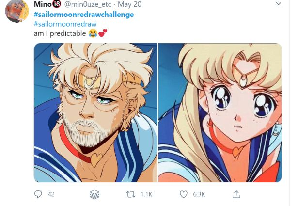 sailor moon redraw man funny