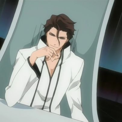 sosuke aizen sititng in chair