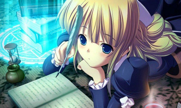 anime girl writing blonde hair
