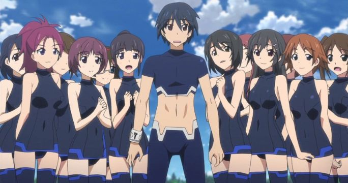 harem anime protagonist surrounded by girls
