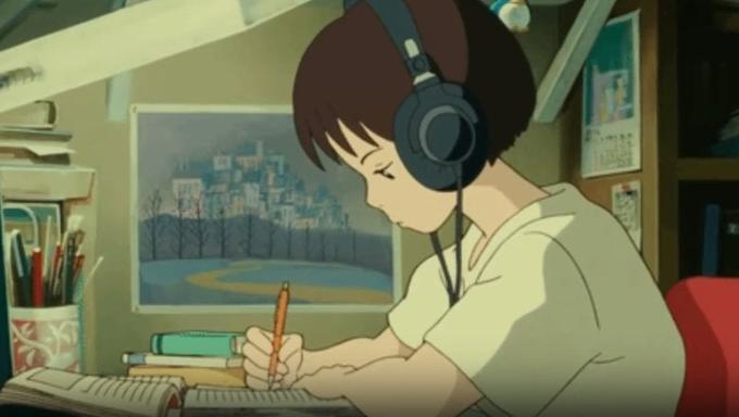 studying anime girl headphones