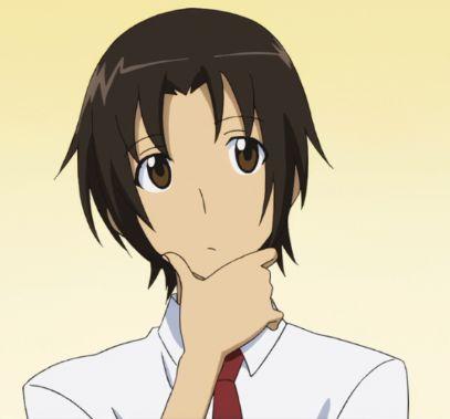 anime boy thinking face brown hair 1