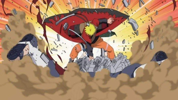 naruto smashes pain to bits