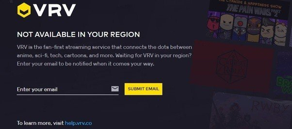 VRV not available in your region anime