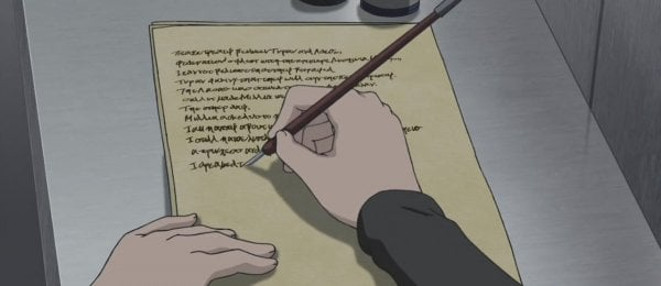 anime character writing on paper