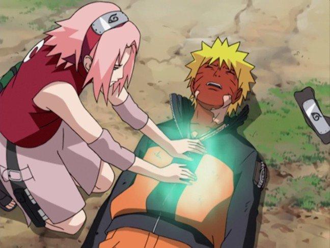 sakura heals naruto four tails battle