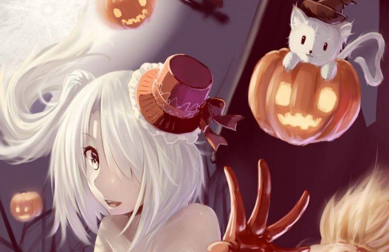 anime halloween white haired girl
