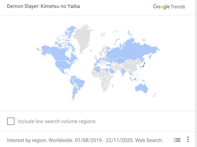 demon slayer google trends popular countries