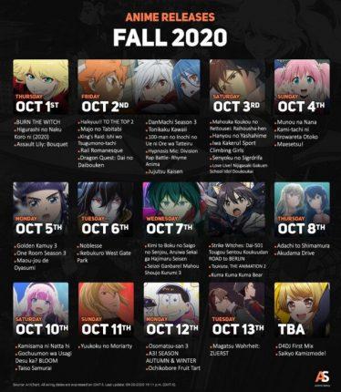 anime season fall 2020 calendar