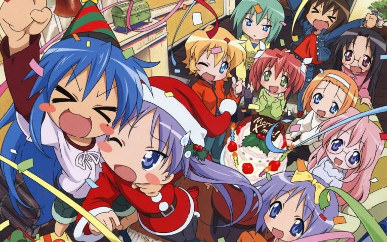 lucky star christmas wallpaper anime