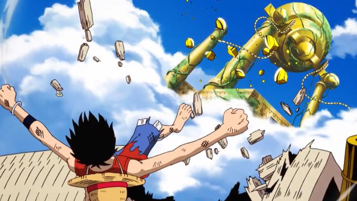 Luffy strikes the Golden Bell at Skypiea