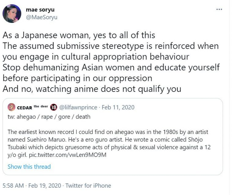 cultural appropiation japanese women ahegao