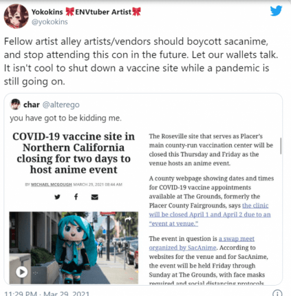 outrage sacanime vaccine event closed twitter