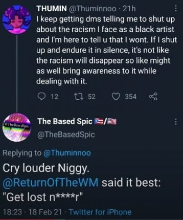 racist comments twitter thumin black artist