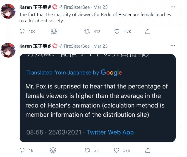 redo of healer tweet more female than male viewers
