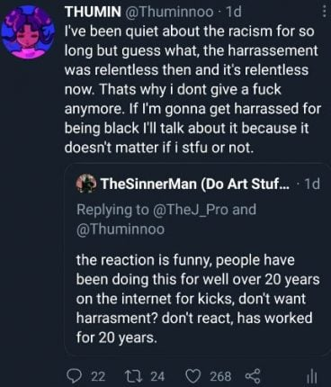 thumin black artist tweets anime racism