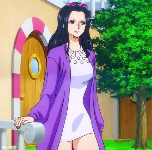Nico Robin purple and white clothing