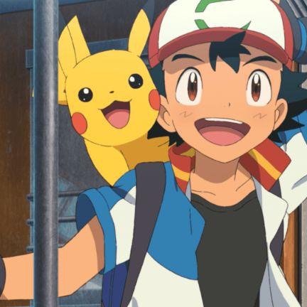 Pokemon series pikachu ash smiling