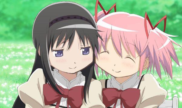 madoka and homura friends cute