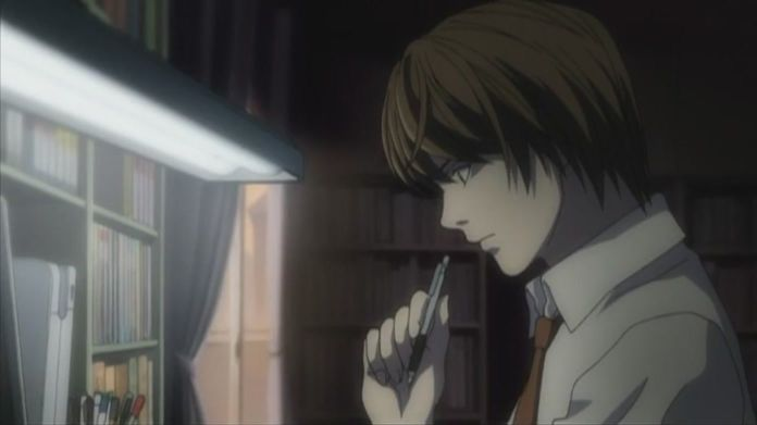 light yagami in his bedroom thinking