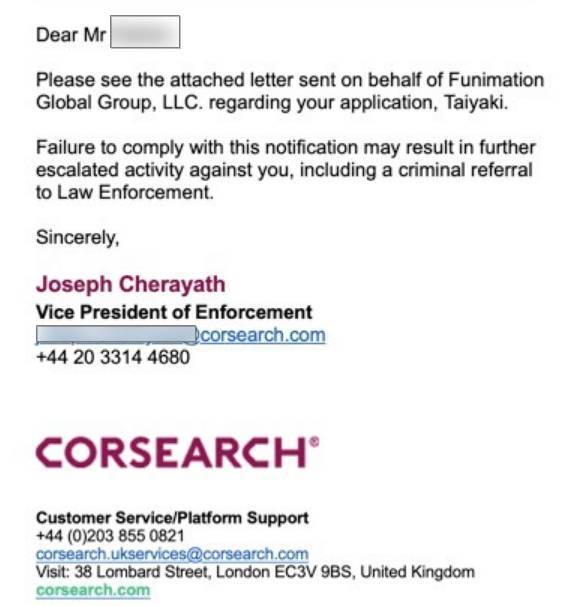 funimation dmca notice email