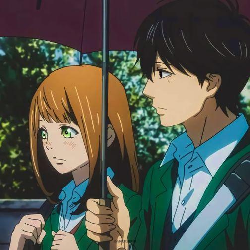 Orange kakeru and naho umbrella anime